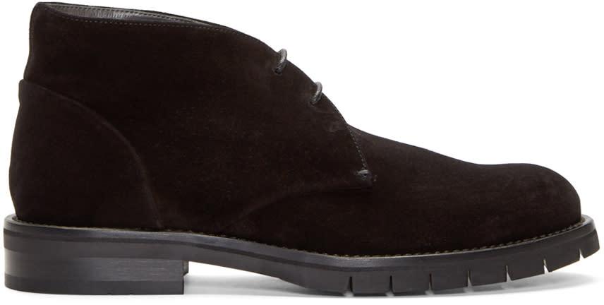 Robert Clergerie Black Suede Bertrand Desert Boots