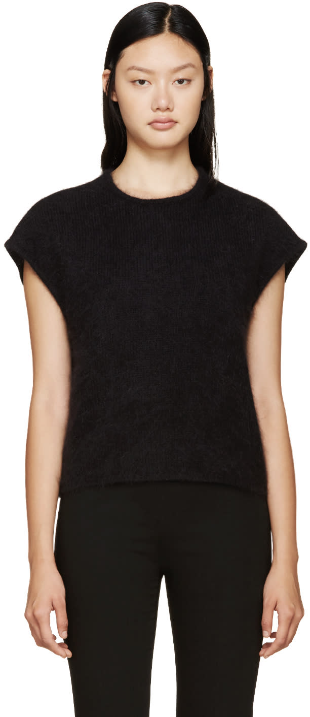 Giambattista Valli Black Sleeveless Angora Sweater