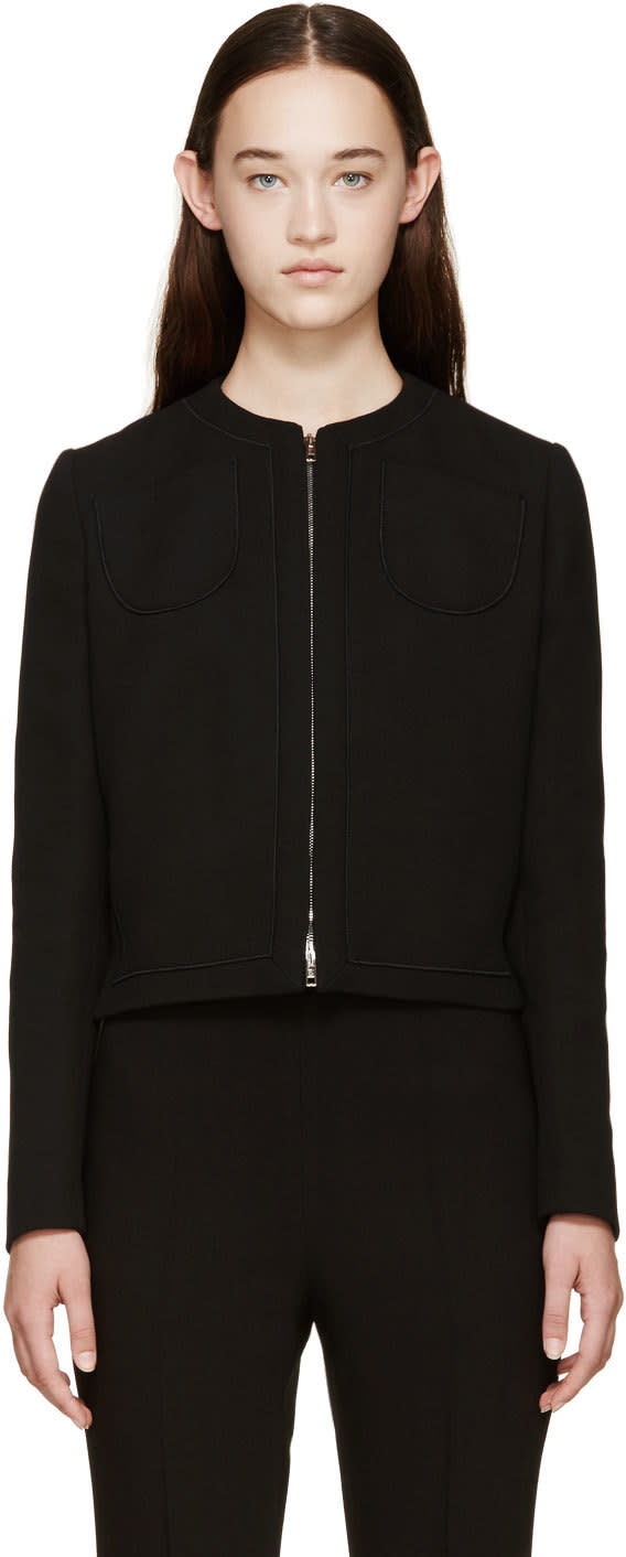 Giambattista Valli Black Zip-up Silk Jacket