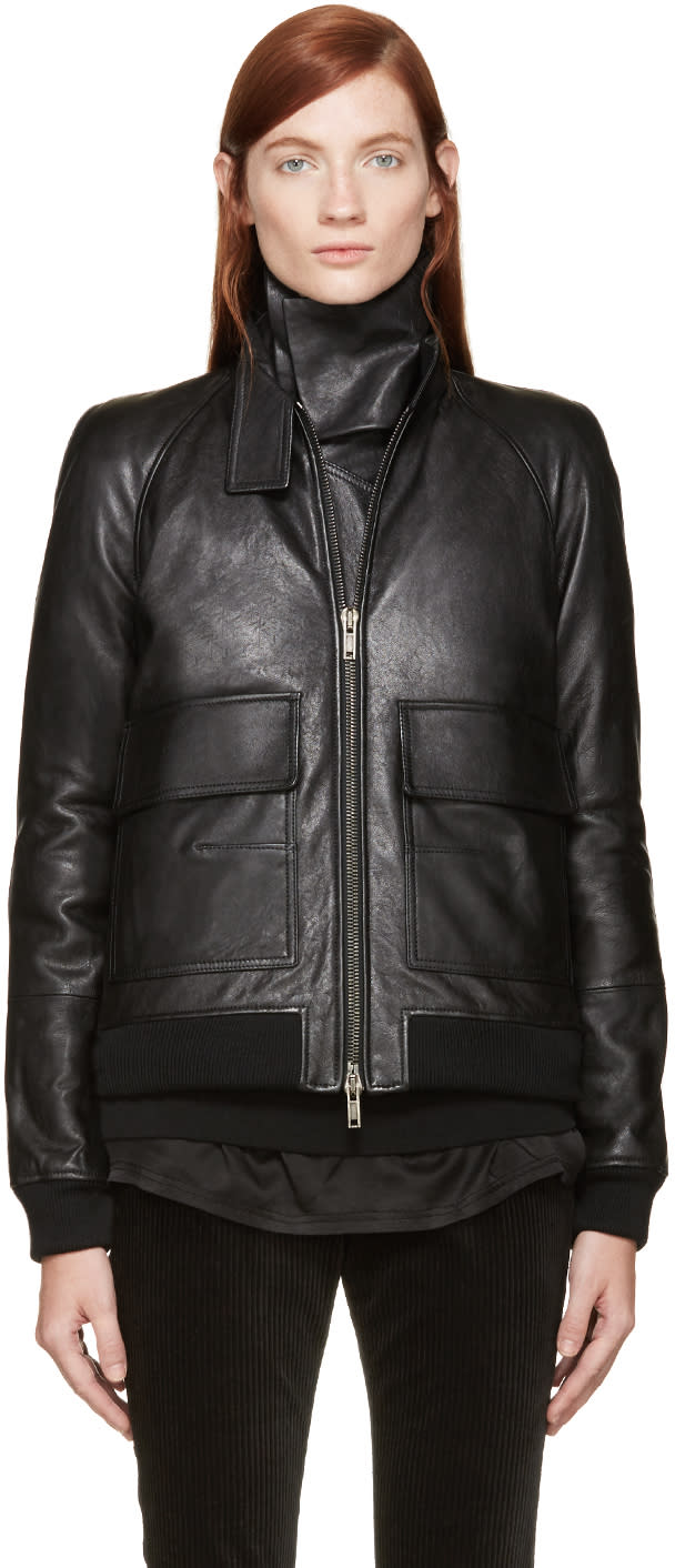 Haider Ackermann Black Leather Inset Scarf Jacket