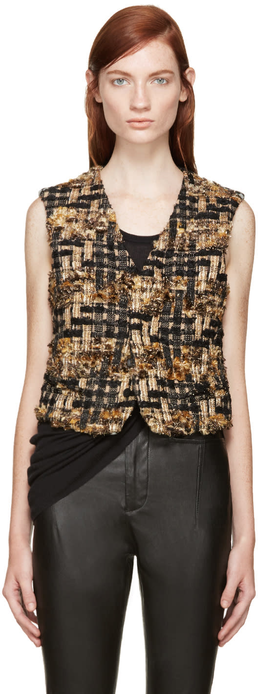 Haider Ackermann Gold and Black Mixed Tweed Vest