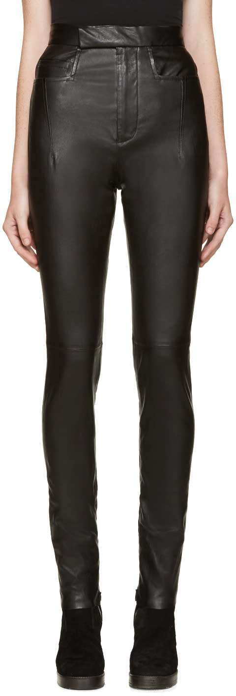 Haider Ackermann Black High-waisted Leather Pants