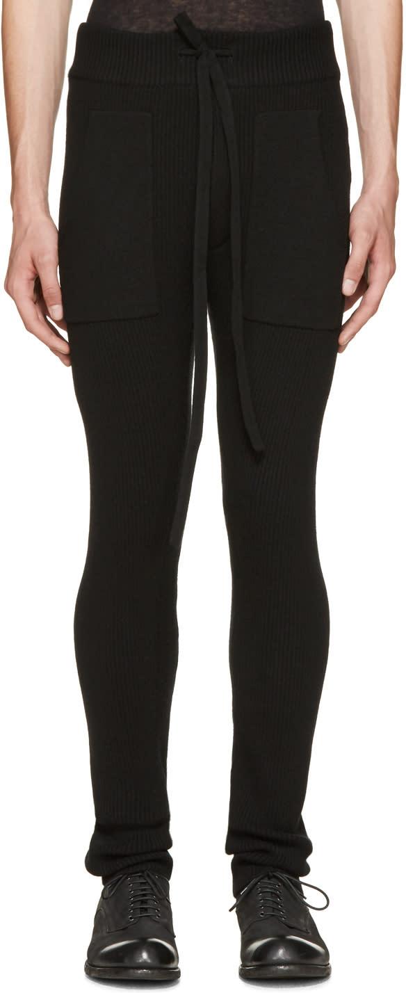 Haider Ackermann Black Ribbed Knit Lounge Pants