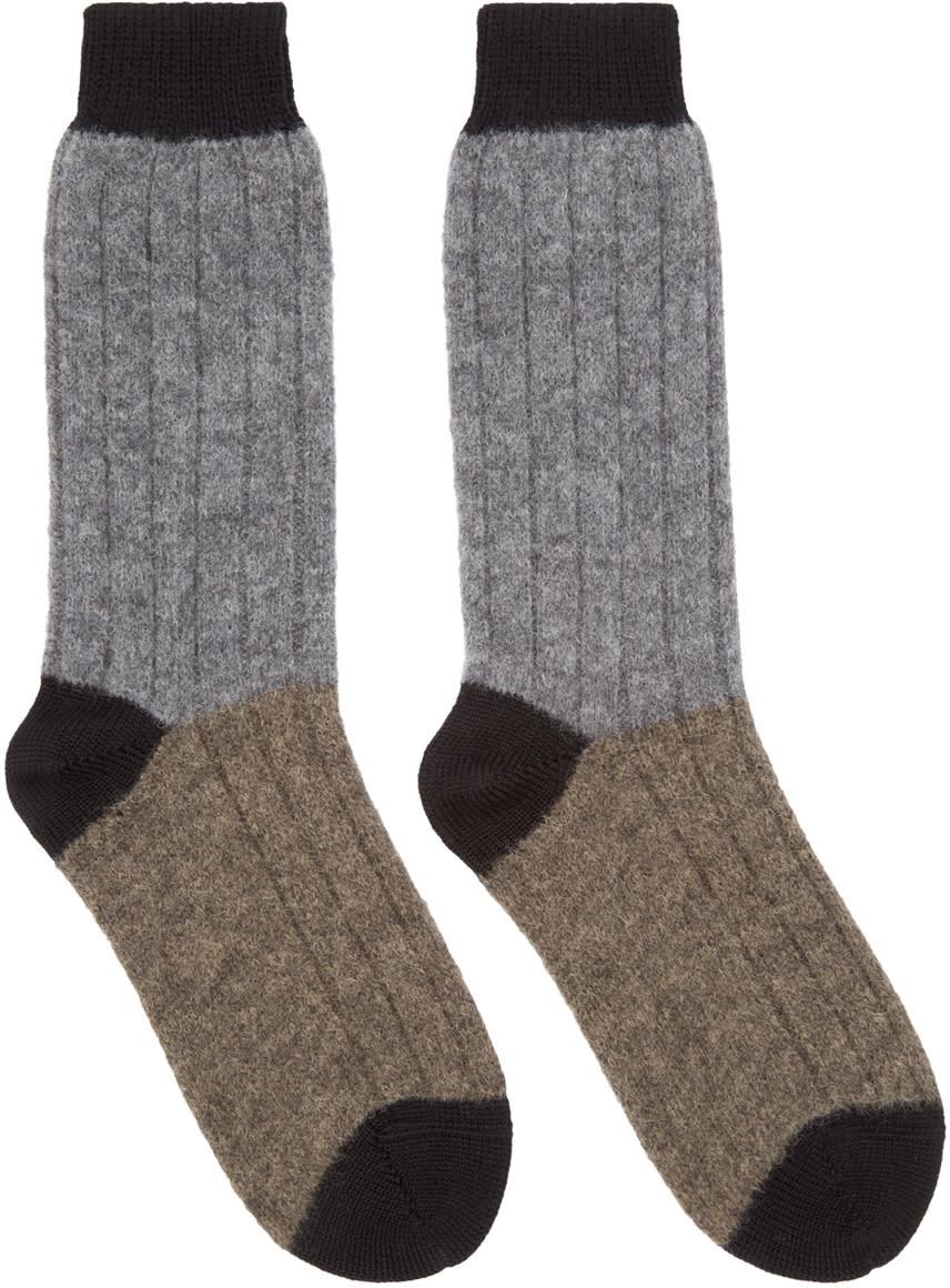 Haider Ackermann Grey and Taupe Alpaca Socks