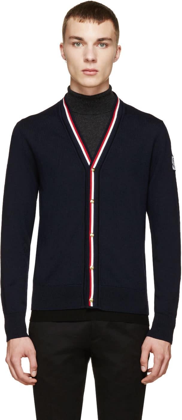 Moncler Gamme Bleu Navy Tricolor Trim Cardigan