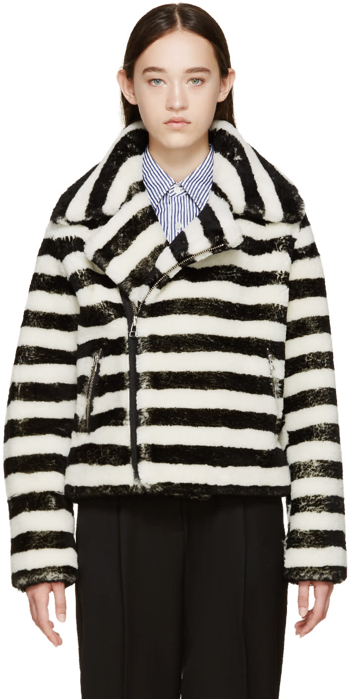 Each X Other Black and Off-white Striped Shearling Jacket