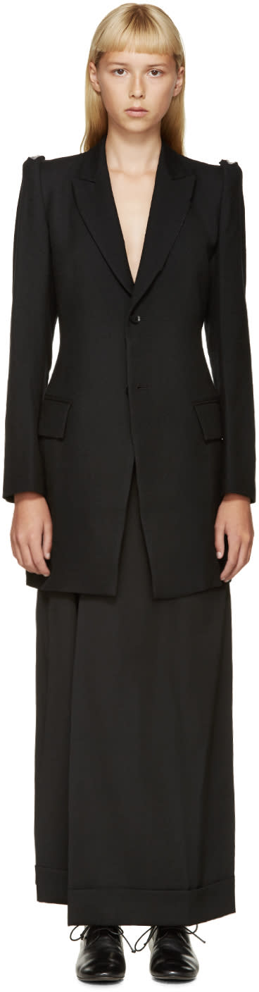 Yohji Yamamoto Black Cross-section Long Blazer