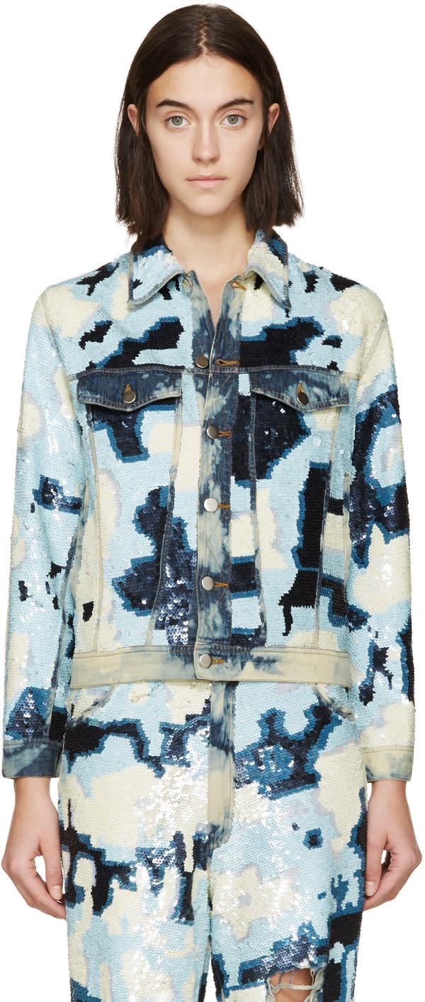 Ashish Blue and White Sequined Denim Jacket