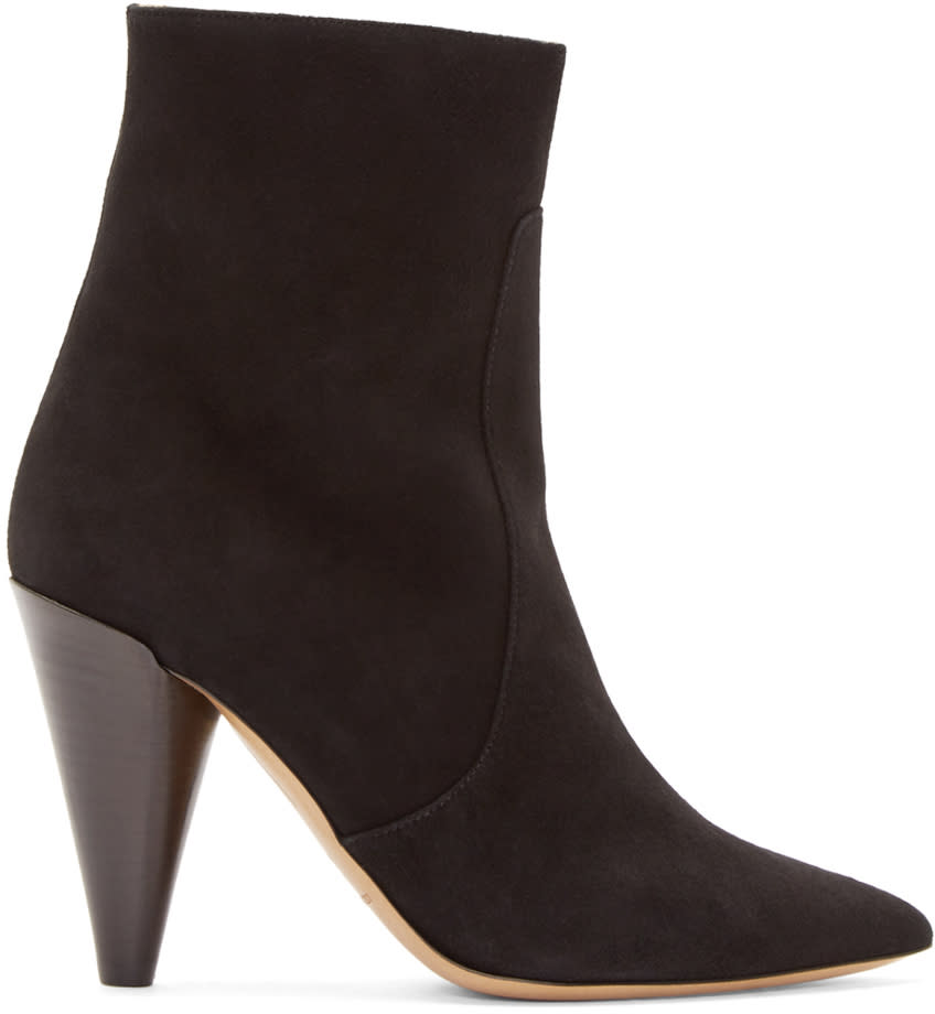 Isabel Marant Black Suede Heeled Naelle Ankle Boots