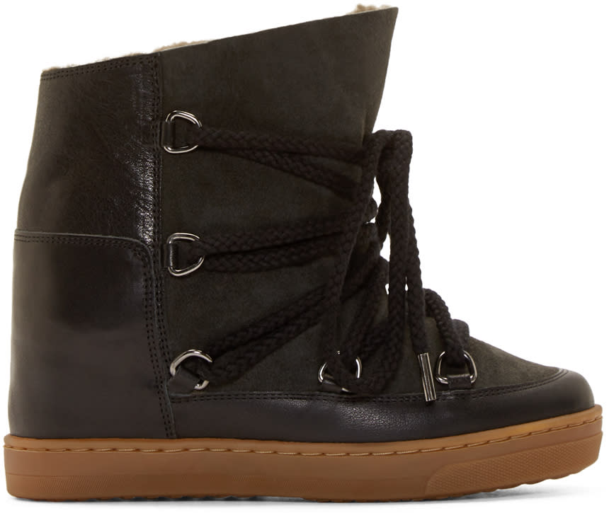 Isabel Marant Black and Olive Shearling Nowles Boots