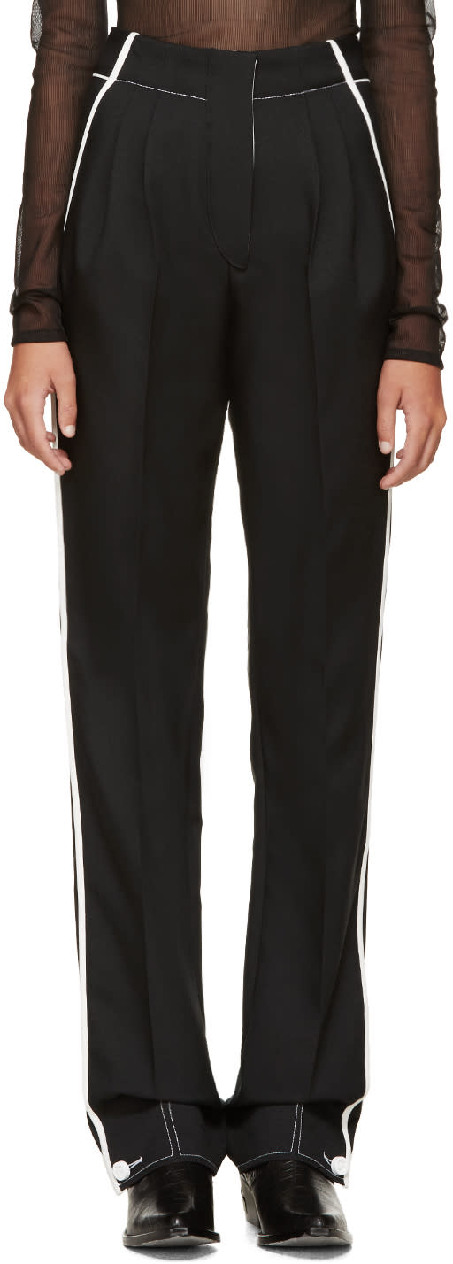 Image of Paco Rabanne Black and White Pleated Trousers