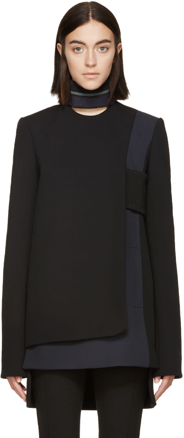 Image of Paco Rabanne Black and Grey Wool Panel Tunic