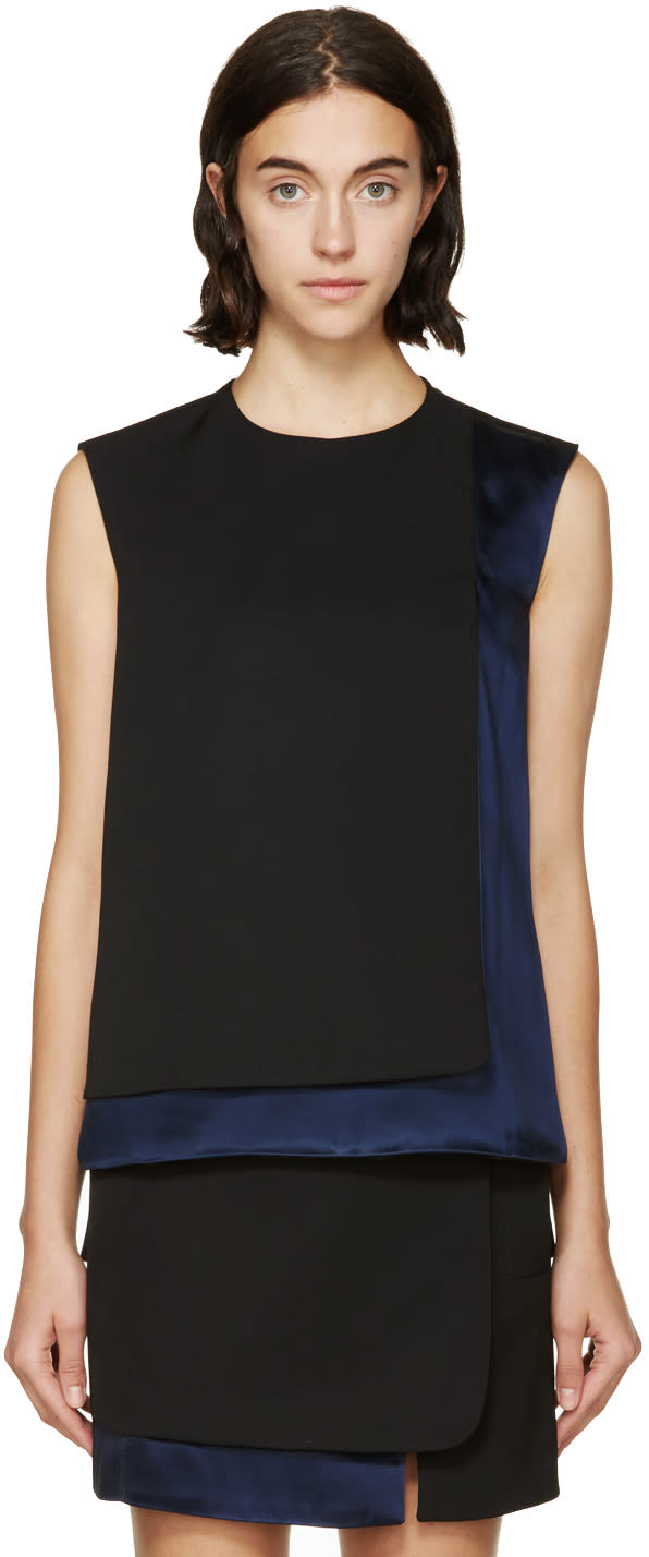 Image of Paco Rabanne Black and Navy Satin Panel Top