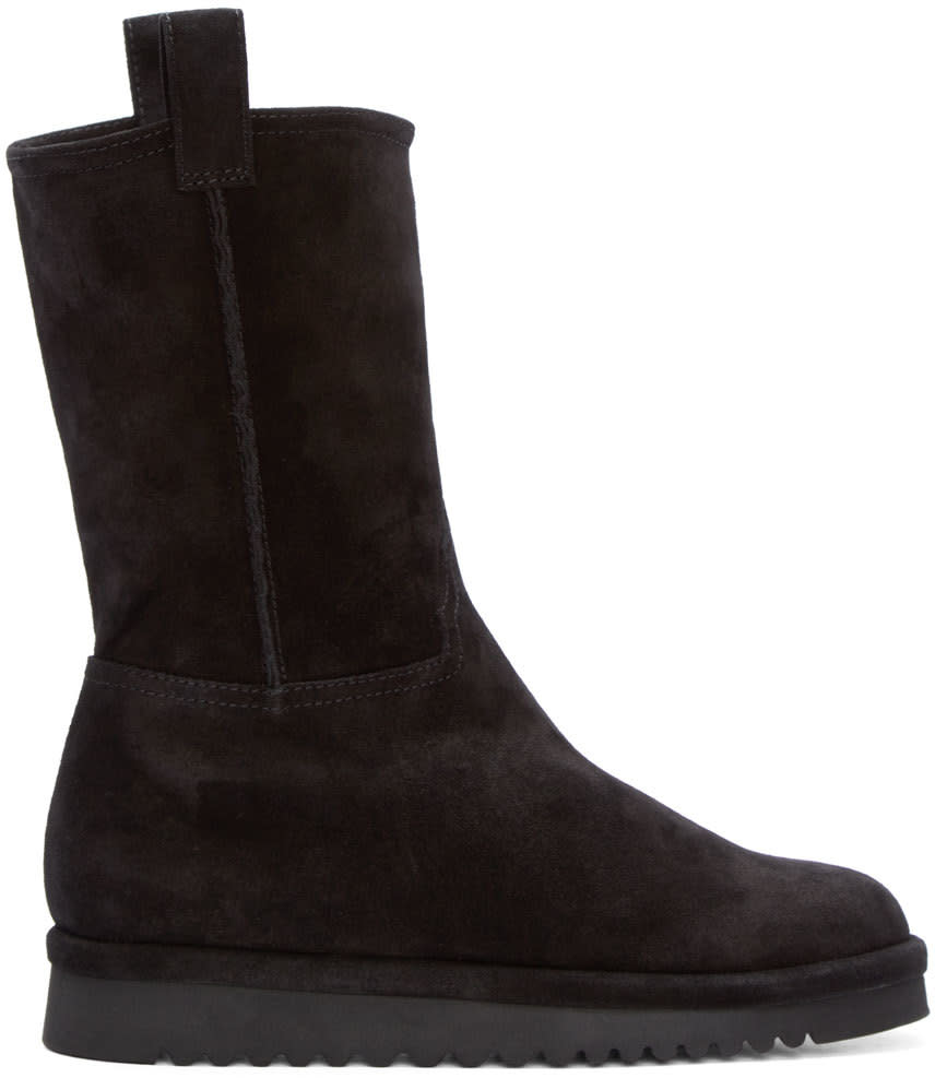 Off-white Black Suede and Wool Boots