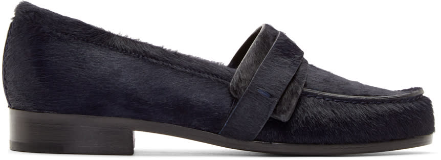 Carritz Navy Calf-hair Loafers