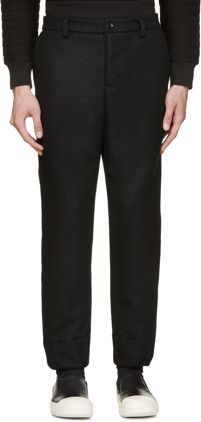 Diet Butcher Slim Skin Black Felted Wool Trousers