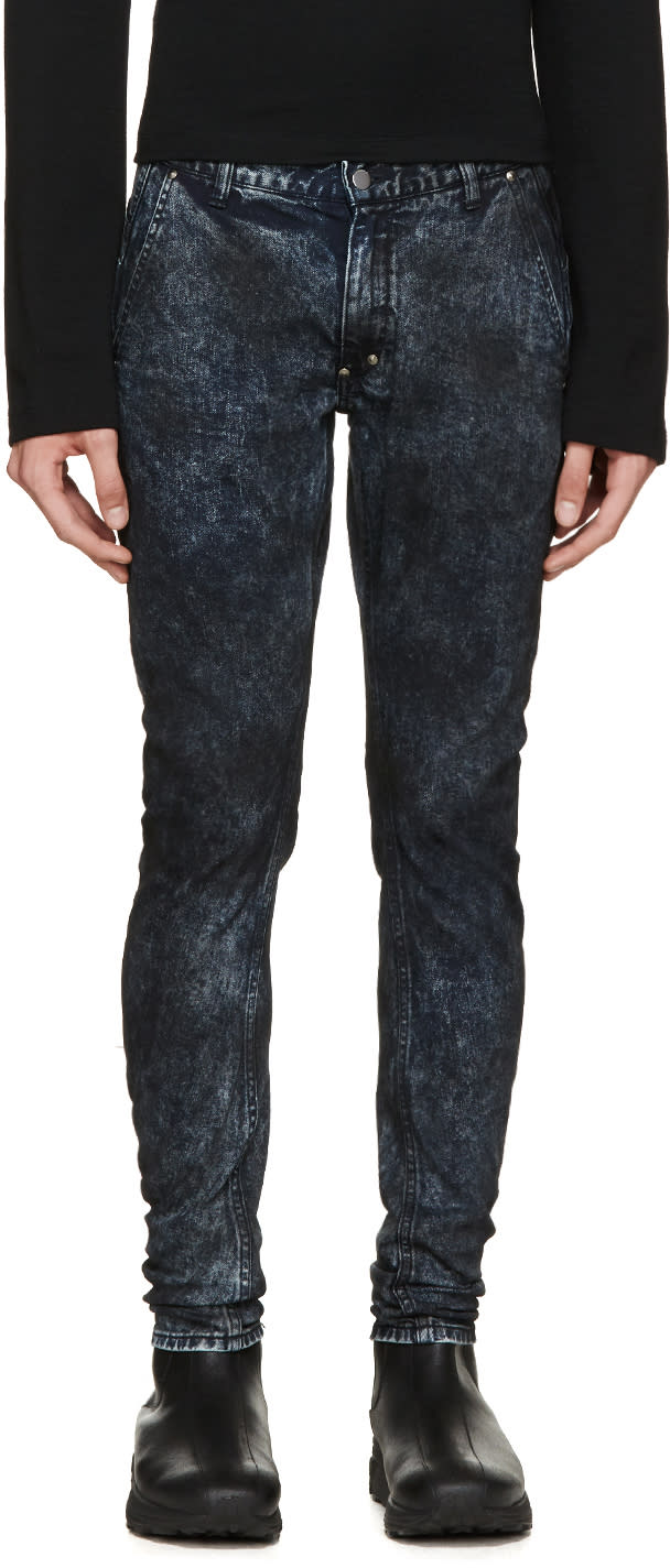 Diet Butcher Slim Skin Blue and Black Mottled Jeans