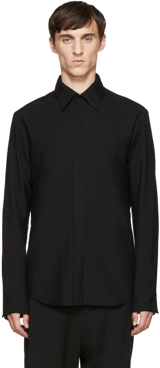 Nude:mm Black Wool Panelled Shirt