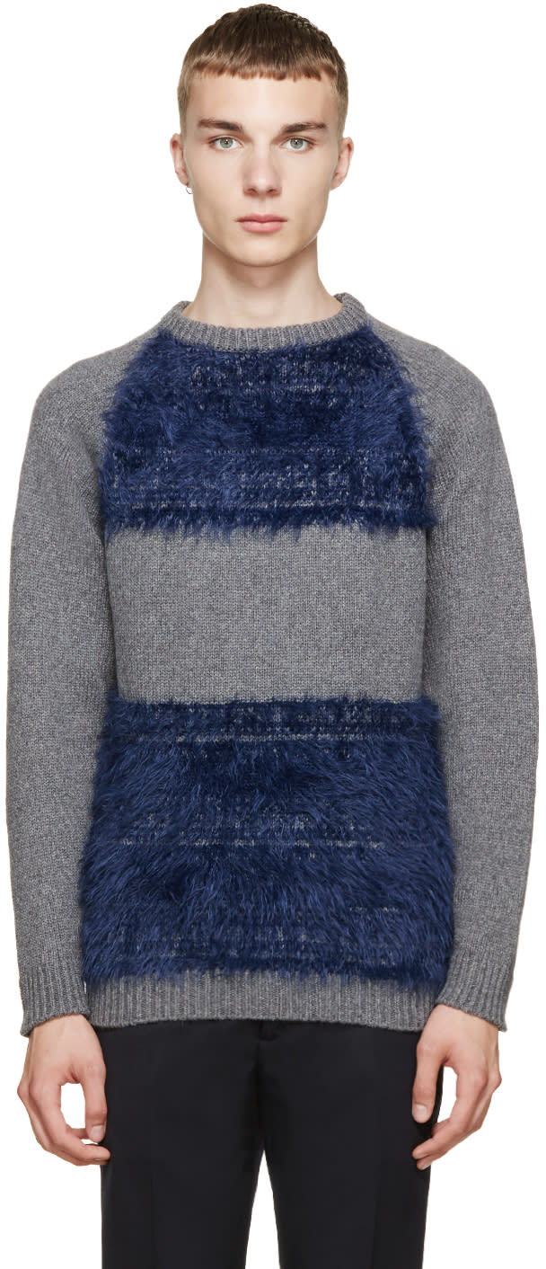Undecorated Man Grey and Blue Colorblocked Sweater