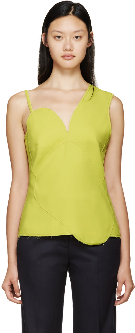 Image of Rejina Pyo Yellow Asymmetric Panelled Katy Top