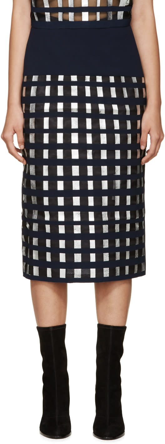 Rejina Pyo Navy and Silver Sasha Lattice Skirt
