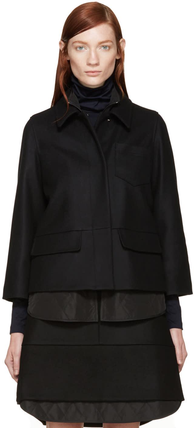 Jil Sander Navy Black Double Layer Wool Jacket