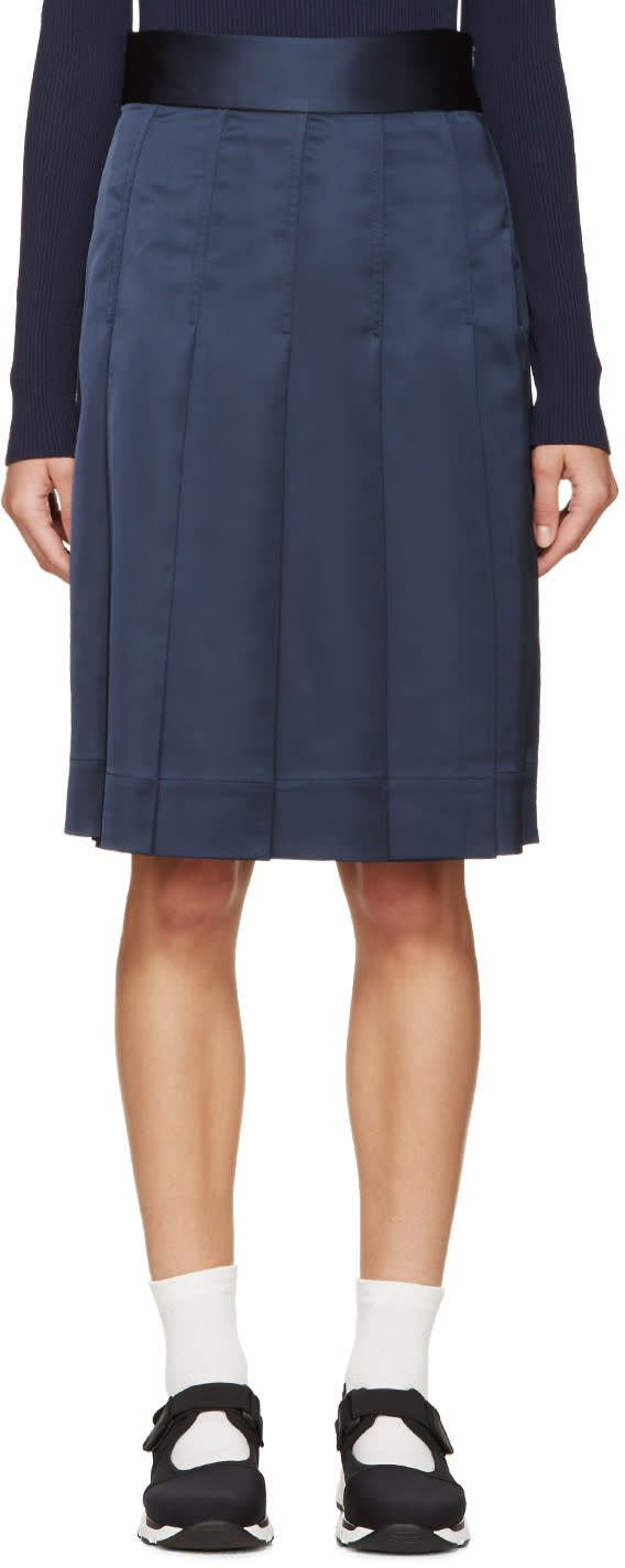 Nomia Navy Pleated Satin Skirt