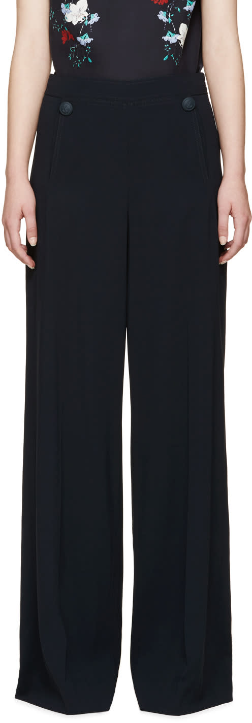 Erdem Blue Crepe Birdie Sailor Trousers
