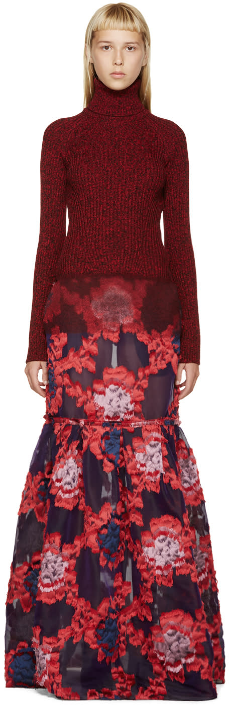 Erdem Red and Purple Madda Dress