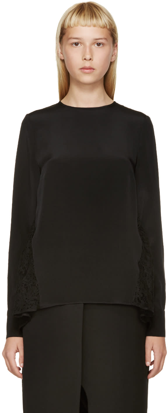 Erdem Black Silk and Lace Tia Blouse