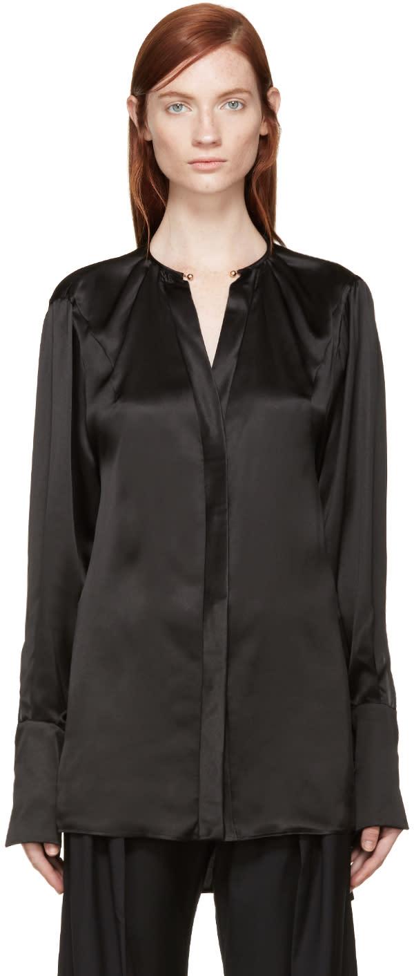 Esteban Cortazar Black Necklace Collar Silk Blouse