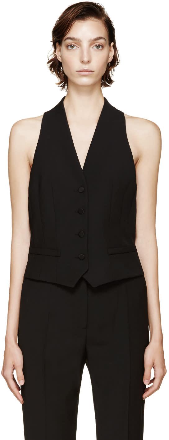 Pallas Black Wool Waistcoat