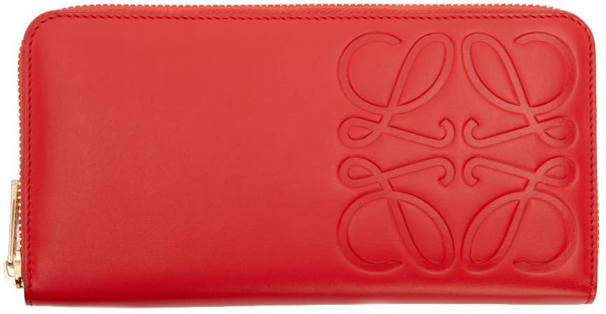 Loewe Red Embossed Logo Wallet