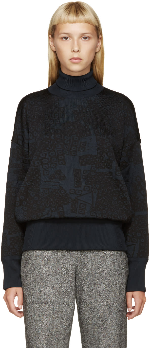 Loewe Black and Blue Jacquard Turtleneck