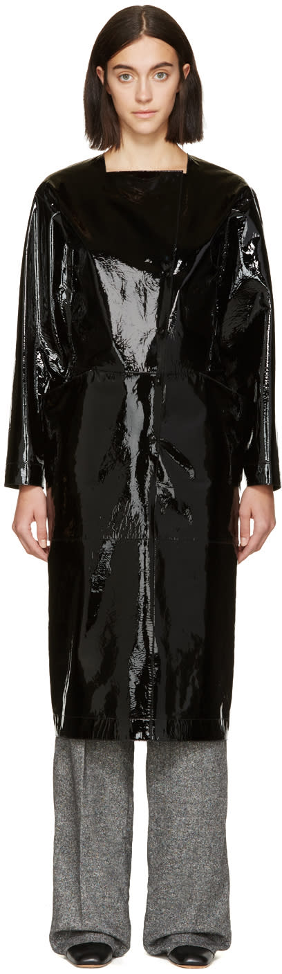 Loewe Black Patent Asymmetric Opening Dress