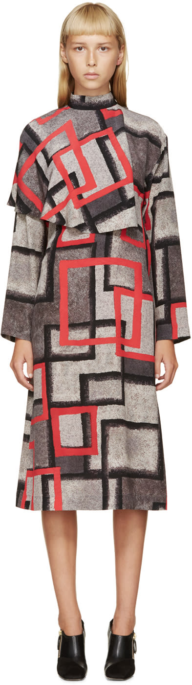 Loewe Grey and Red Silk Dress