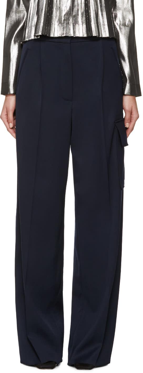 Loewe Navy Wide-leg Cargo Trousers