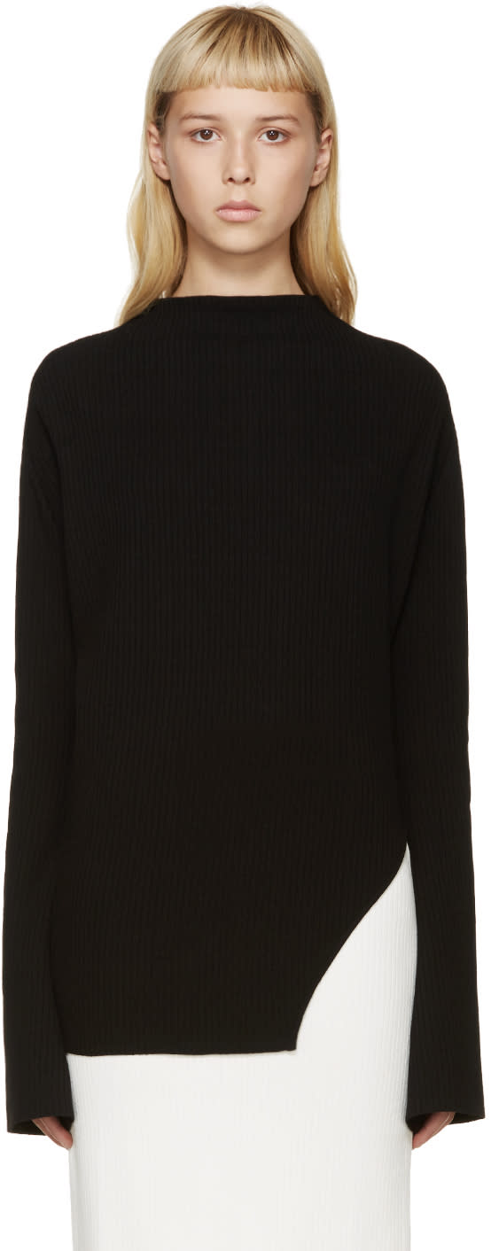 Thomas Tait Black Rib Knit Sweater