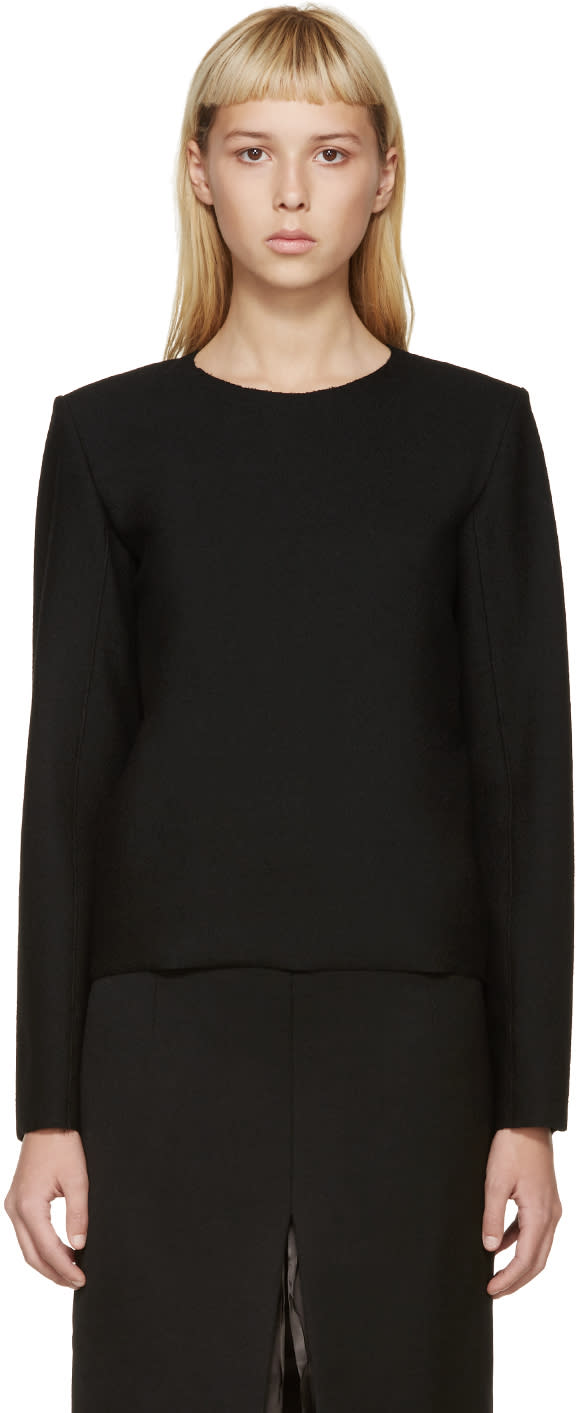 Image of Thomas Tait Black Wool Crepe Blouse