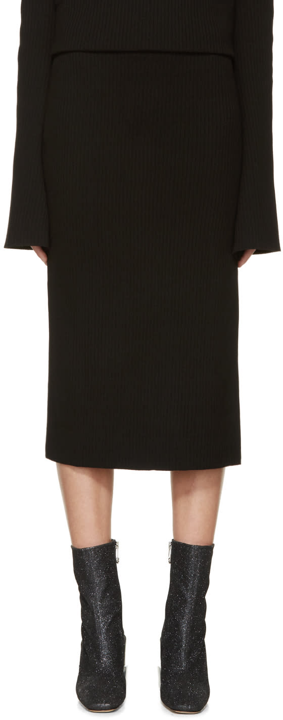 Image of Thomas Tait Black Rib Knit Tea Skirt
