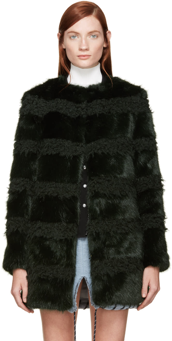 Shrimps Green Faux-shearling and Fur Bobbin Coat