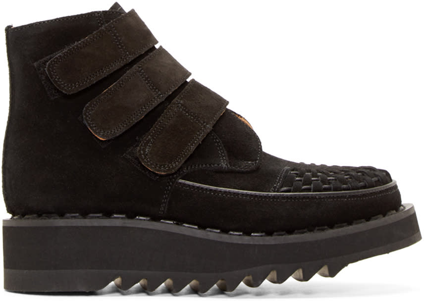 Image of 99% Is Black Suede Velcro Creeper Boots