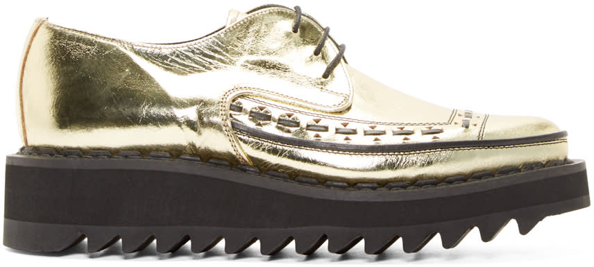 Image of 99% Is Gold and Black Leather Creepers