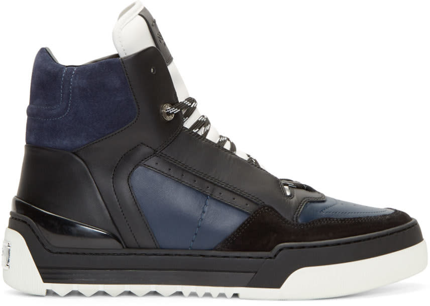 Fendi Navy Leather Tank High-top Sneakers