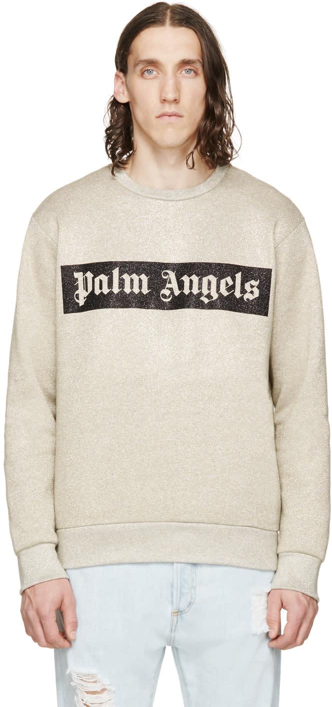 Palm Angels Gold Logo Crewneck Sweatshirt