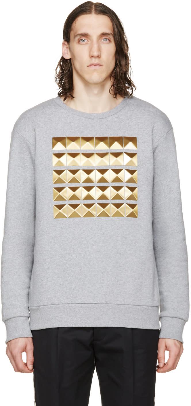 Palm Angels Grey Studded Crewneck Sweatshirt