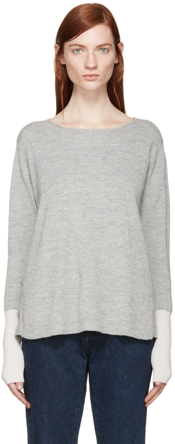 Aalto Grey and Pink Alpaca Wool Paneled Sweater