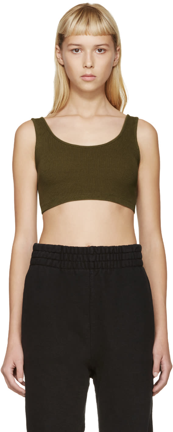 Yeezy Season 1 Green Ribbed Sports Bra