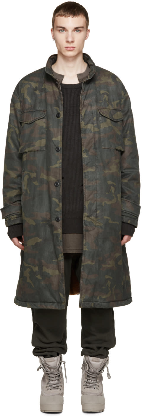 Yeezy Season 1 Brown and Green Camouflage Trenchcoat