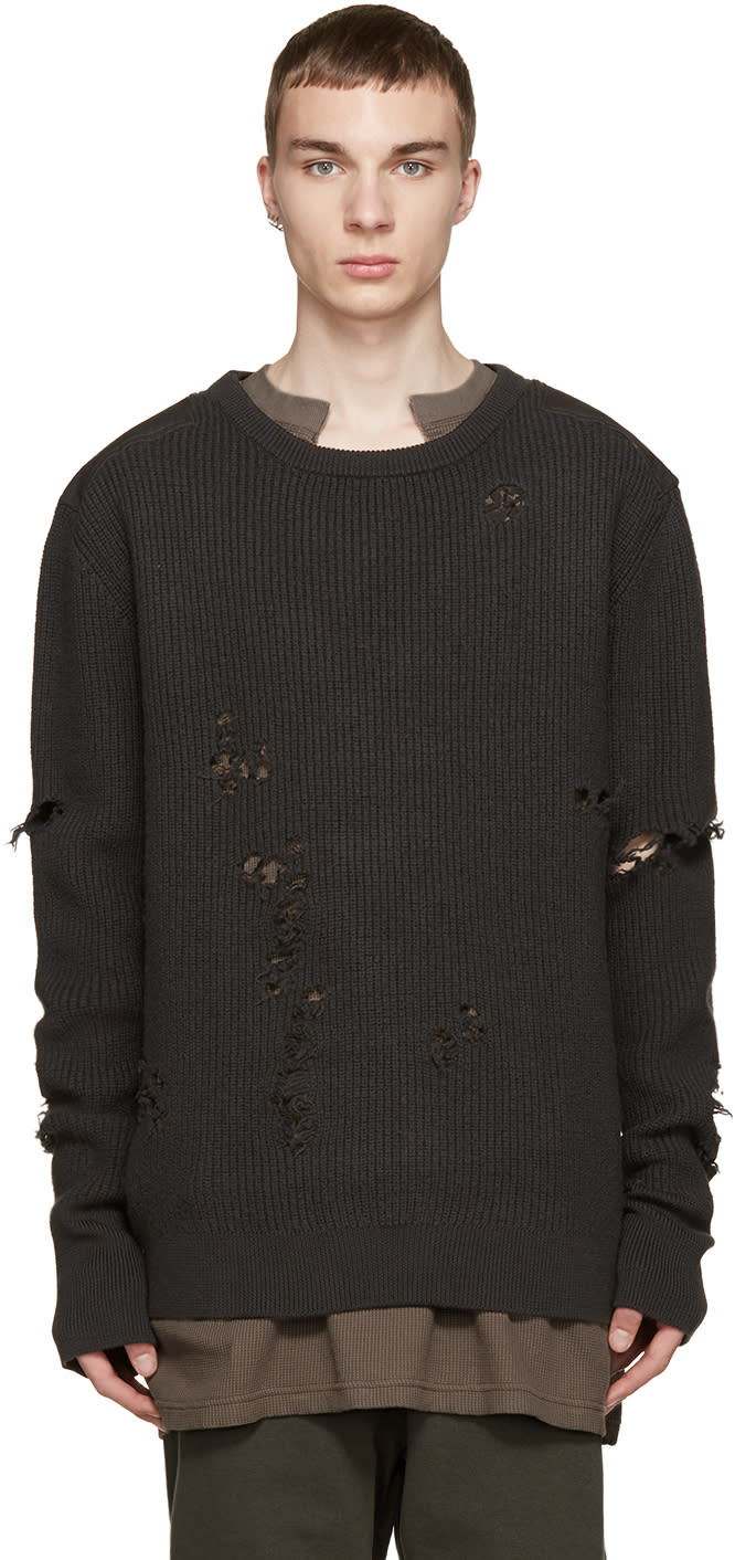 Yeezy Grey Patched and Destroyed Sweater